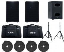 2x QSC CP8 + QSC KS112 + Tote Bags + Tripod Pair + XLR Cables