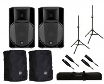 2x RCF ART 732-A MK4 + Covers + Stands + Bag + Mogami Cables