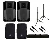 2x RCF ART 745-A MK4 + Covers + Stands + Bag + Mogami Cables