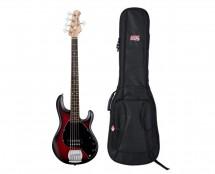 Sterling by Music Man StingRay5 Ruby Red Burst Satin + Gator Gig Bag