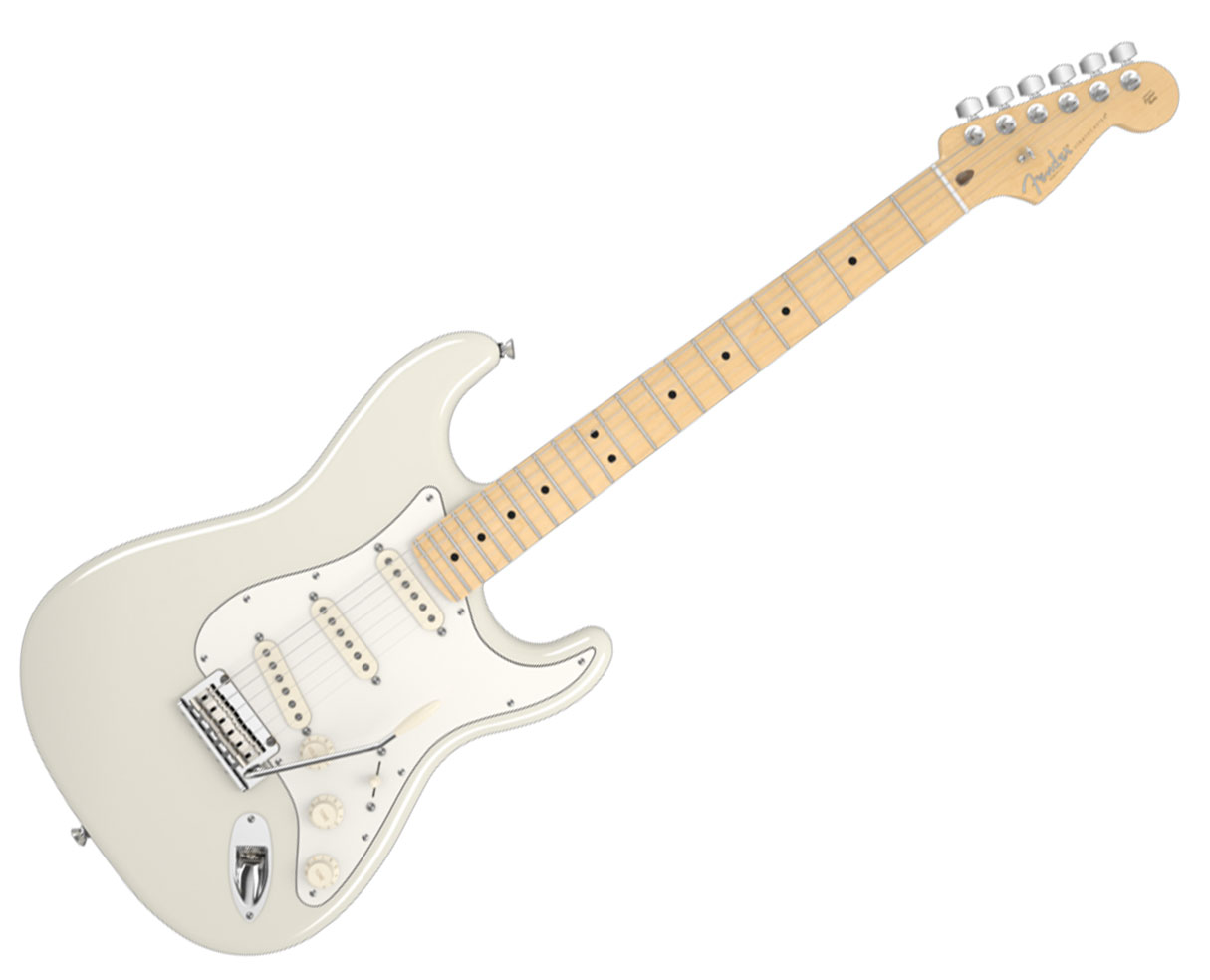 fender american standard stratocaster maple olympic white strat guitar 1g ebay. Black Bedroom Furniture Sets. Home Design Ideas