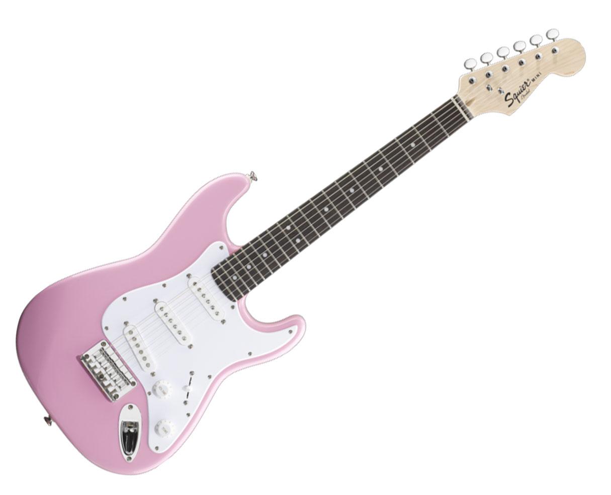 fender squier mini stratocaster guitar rosewood pink strat proaudiostar ebay. Black Bedroom Furniture Sets. Home Design Ideas