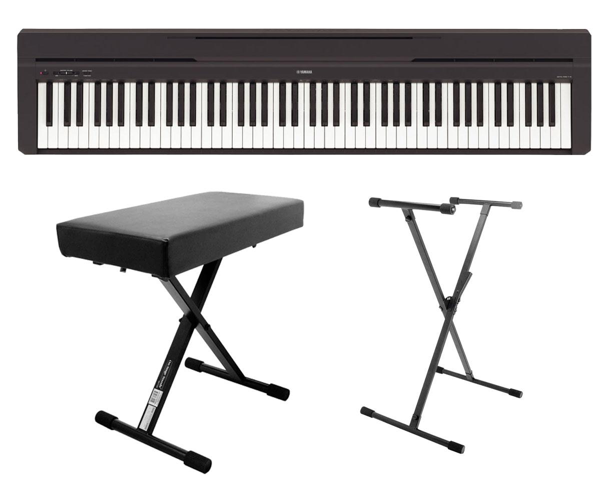 yamaha p45b hammer action digital piano keyboard stand bench ebay. Black Bedroom Furniture Sets. Home Design Ideas